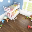 Childrens bedroom seen from above - Stock Photo