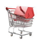 Isolated shopping cart with red icon house — Stock Photo
