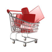 Isolated shopping cart with technology concept — Stock Photo