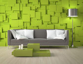 Green blocks wall and furniture — Foto Stock