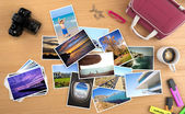 Many pictures of a trip on a desktop — Stock Photo
