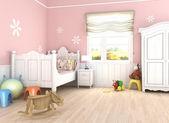 Pink girl´s bedroom — Stock Photo