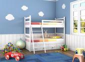 Blu stanza per bambini con i giocattoli — Foto Stock