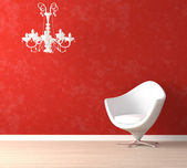 White chair and lamp on red — Stock Photo