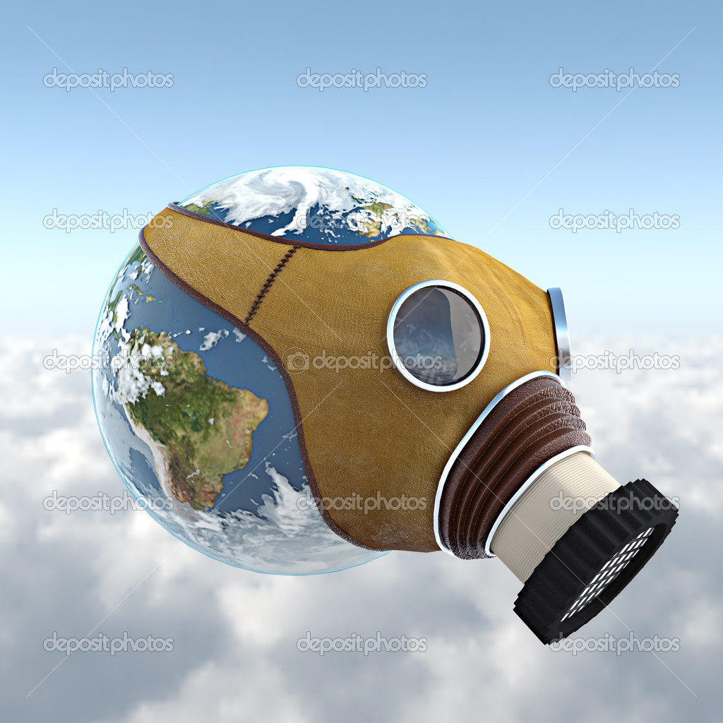 3d render of the planet earth with an anti gaz mask, with clipping path ready for exact isolation from background — Foto Stock #8207127