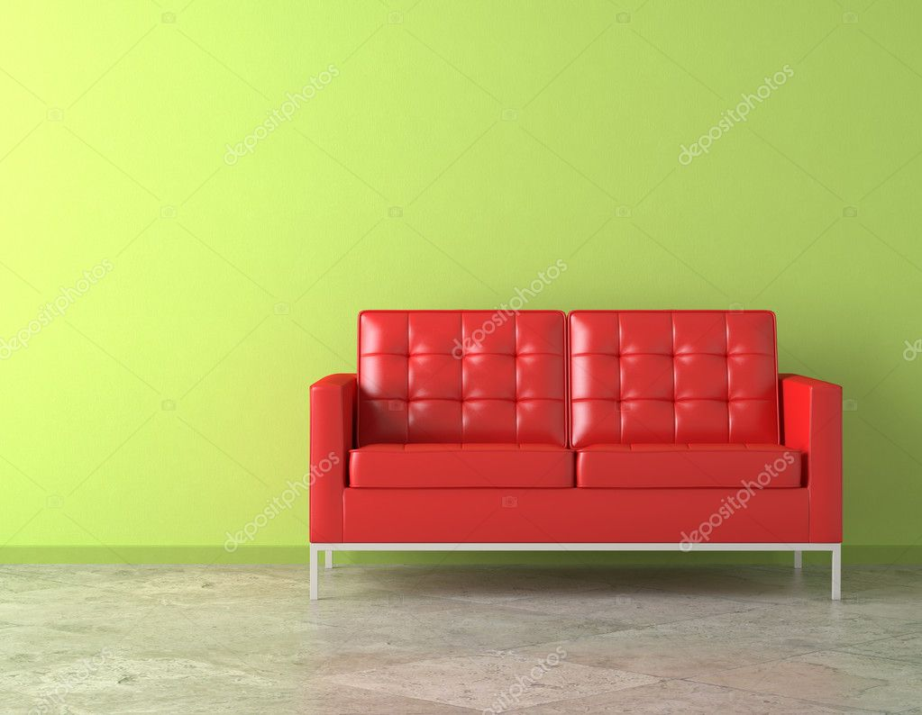 Rode luie stoel op groene muur — Stockfoto © arquiplay77 #8207556