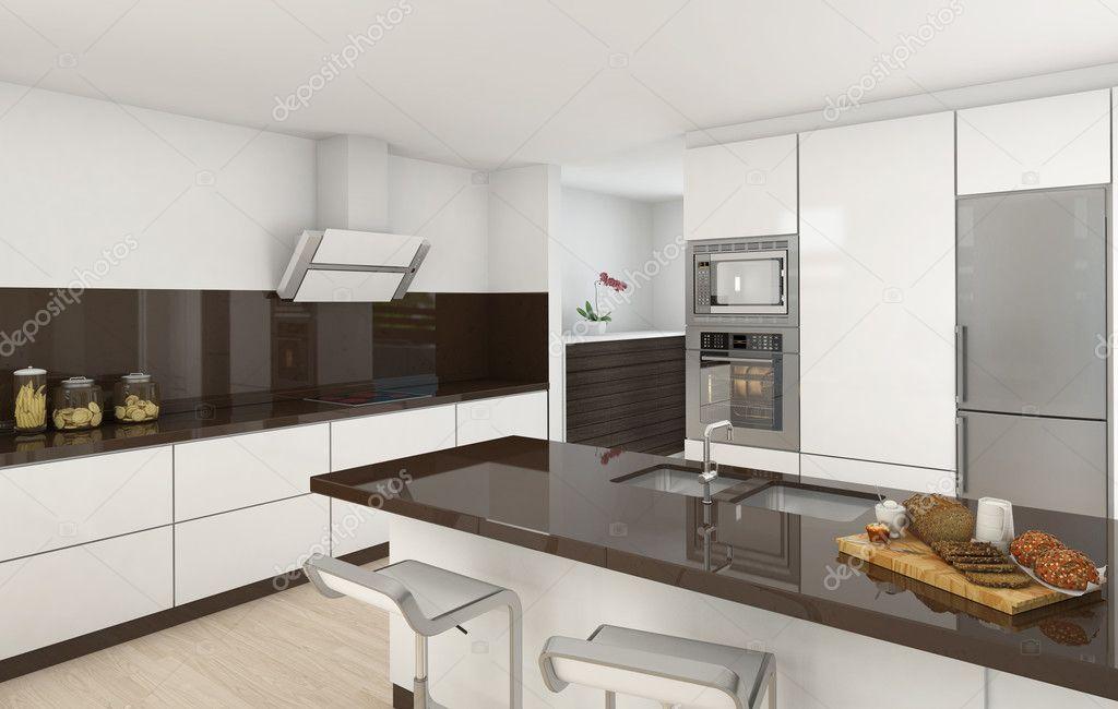 Moderne keuken wit en bruin — stockfoto © arquiplay77 #8207607
