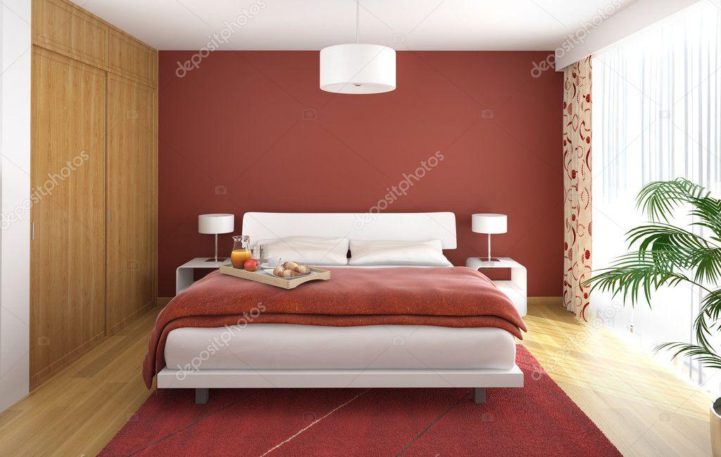 Downloaden - Interieur ontwerp van moderne slaapkamer in het rood wit ...