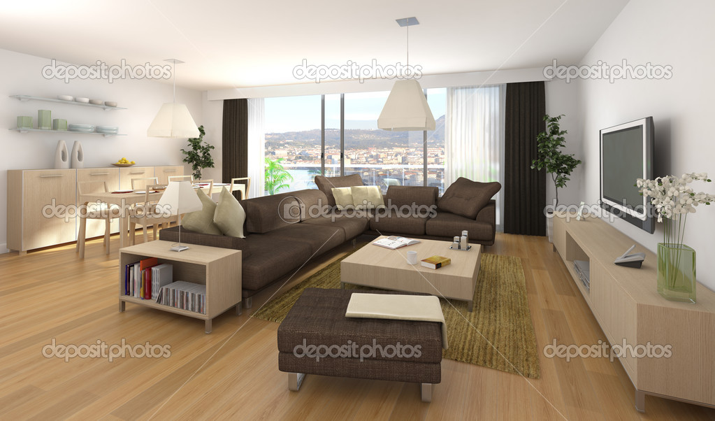 Moderne interieur van appartement stockfoto arquiplay77 8208173 - Interieur decoratie modern hout ...