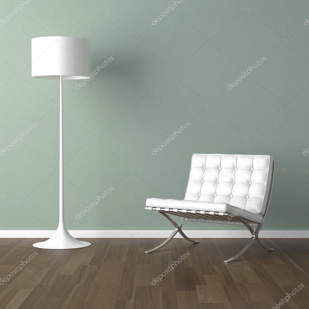 Interior design scene with a white modern chair and lamp on a pale green wall — Stock Photo #8208371