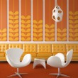 Retro interior design orange - Stock Photo