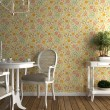 Flowery wallpaper interior - Stock Photo