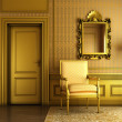 Classic palace interior with armchair mirror and golden molding — Stock Photo