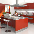Red kitchen - Stockfoto