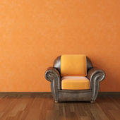 Interior design orange wall and brown couch — Стоковое фото