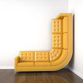Sofá amarillo doblado al subir por la pared — Foto de Stock