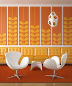 Retro interior design orange — Stock Photo