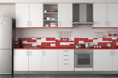 Interior design of modern red kitchen — Stock Photo