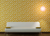 Interior design of white couch on flowery wallpaper — Stock Photo