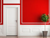 Interior design classic red and white — Stock Photo