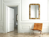Classic white interior whit mirrors — Stock Photo