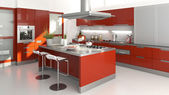 Red kitchen — Stockfoto