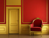 Stylish golden and red interior design — Stock Photo