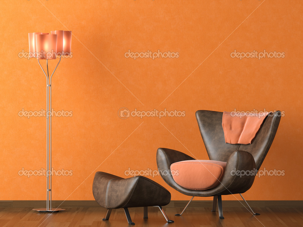 moderne ledercouch an orange wand stockfoto. Black Bedroom Furniture Sets. Home Design Ideas