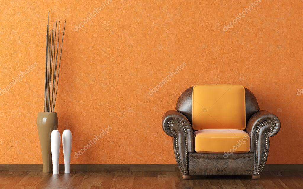 Diseño interior naranja de la pared y sofá marrón — Foto de stock ...