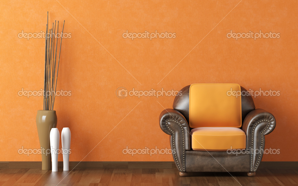Diseño interior naranja de la pared y sofá marrón — foto de stock ...