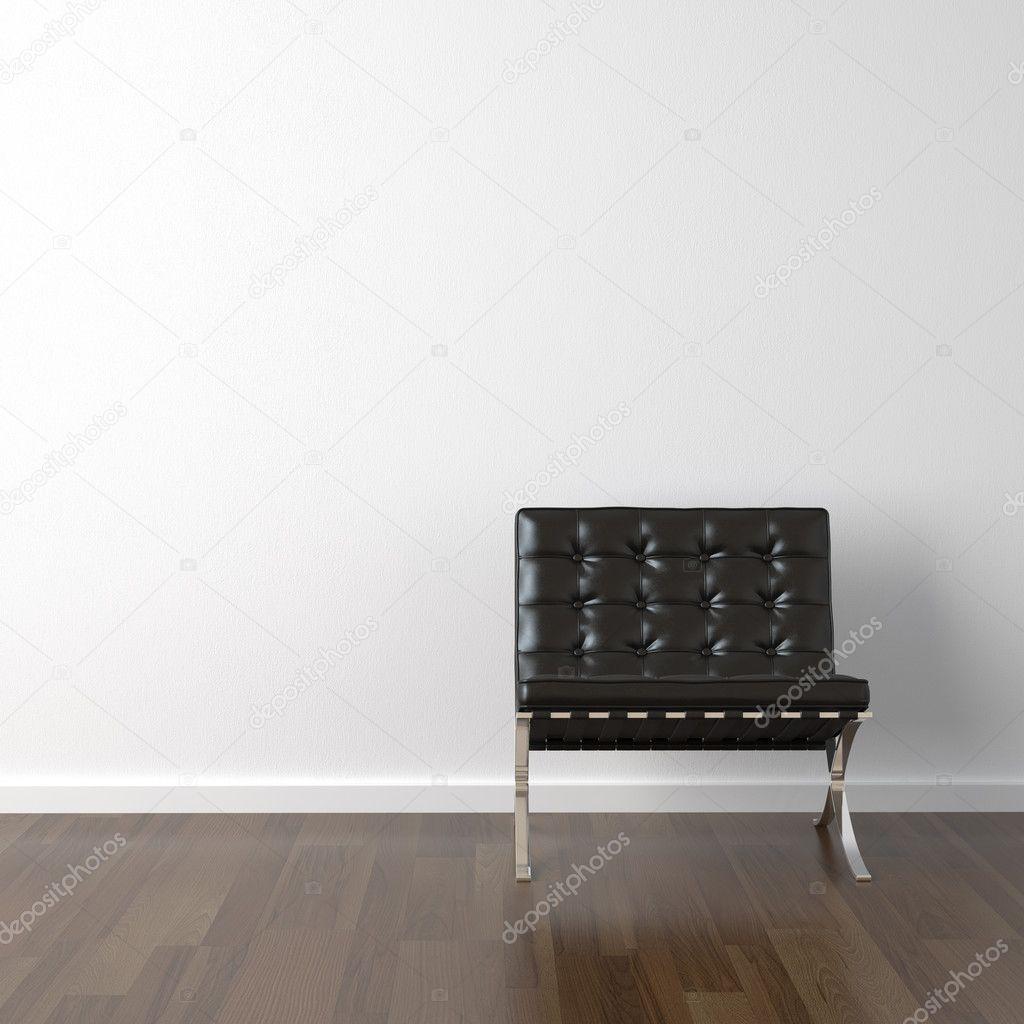 Zwarte leren stoel op witte muur — stockfoto © arquiplay77 #8212671