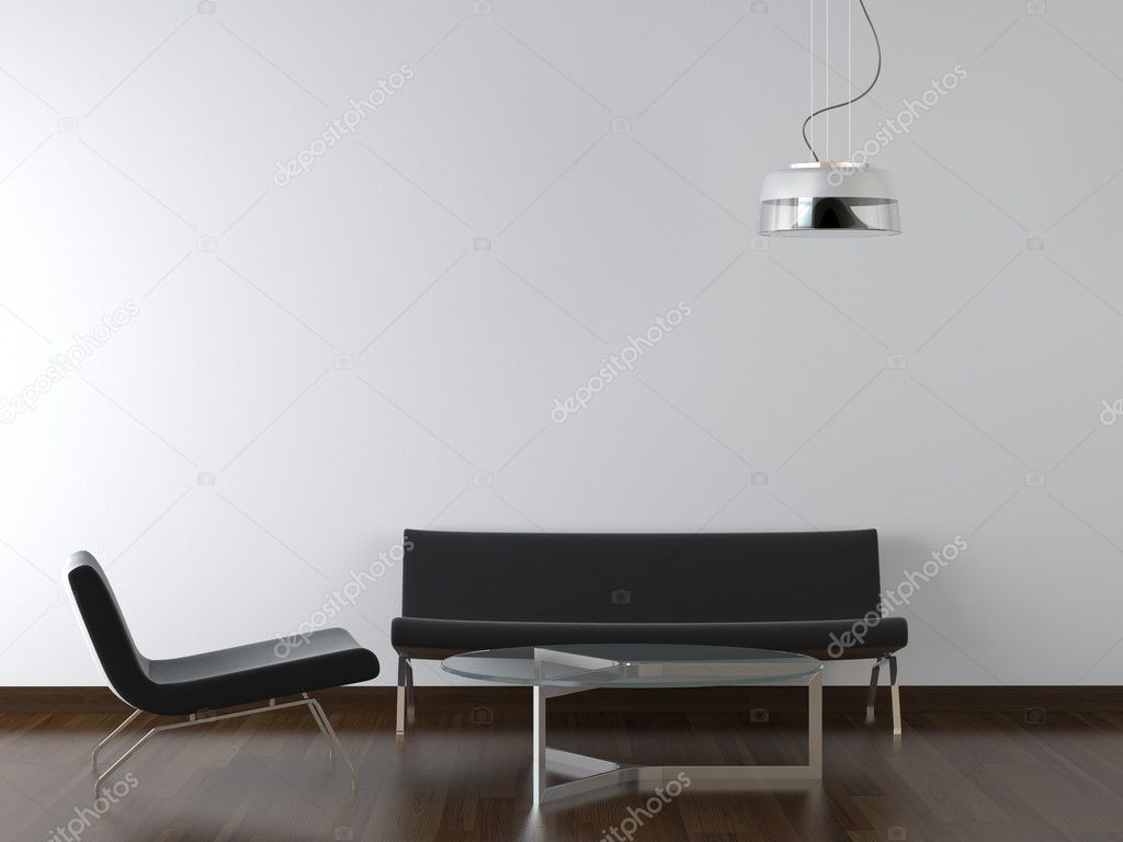 Interior design black living room furniture and lamp on white wall with copy scape  Stock Photo #8213492
