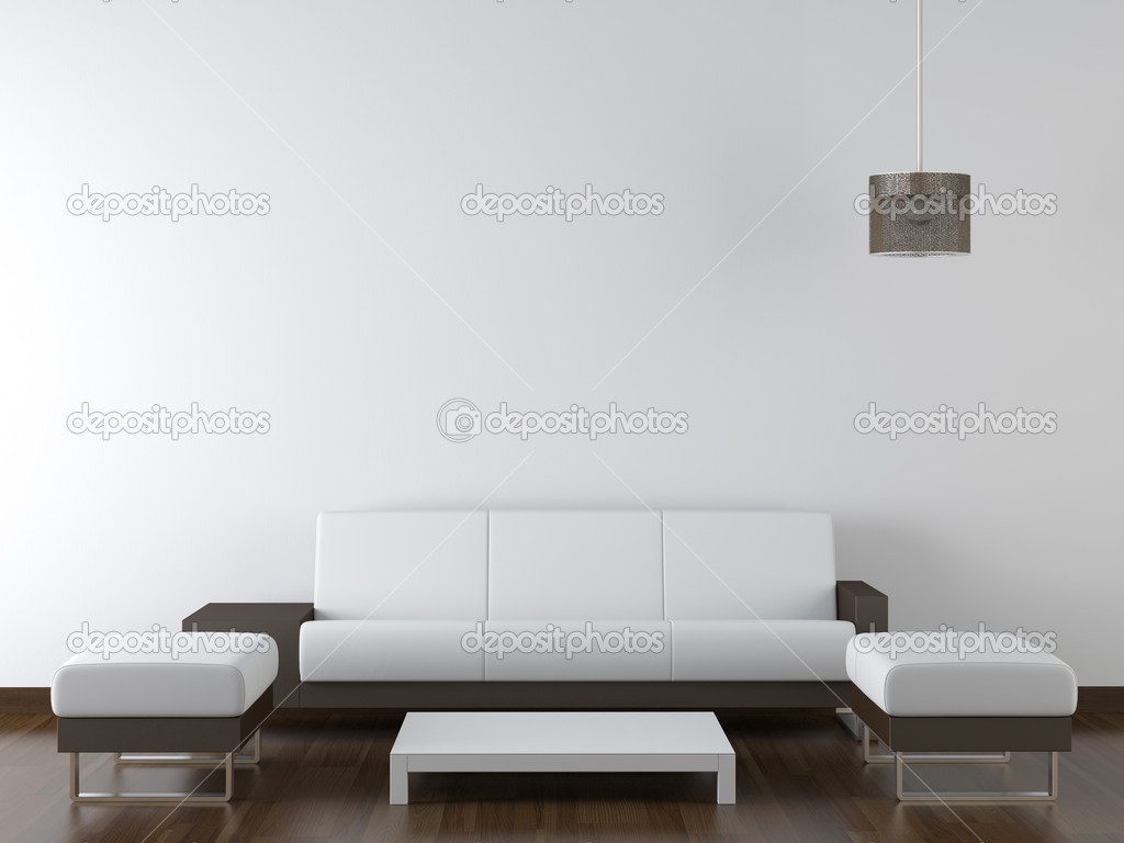 Interior design modern white furniture on white wall for Modern white furniture