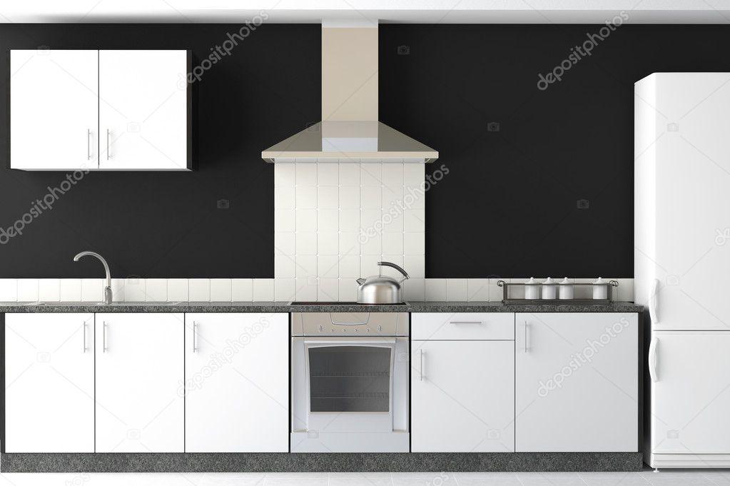 design de interiores de cozinha moderna preta u2014 Foto Stock ...