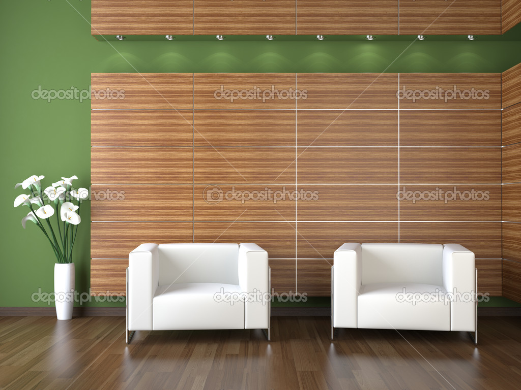 Interior design of modern waiting room with wood cladding on green wall  Stock Photo #8214103