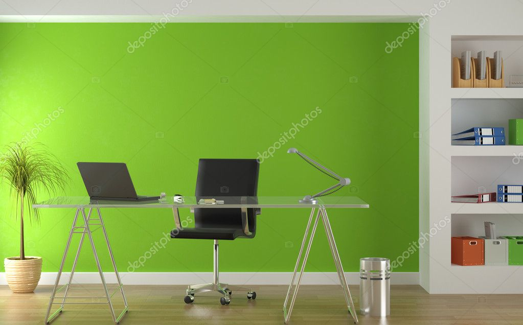 Interior design of modern green office environment  Stock Photo #8214668