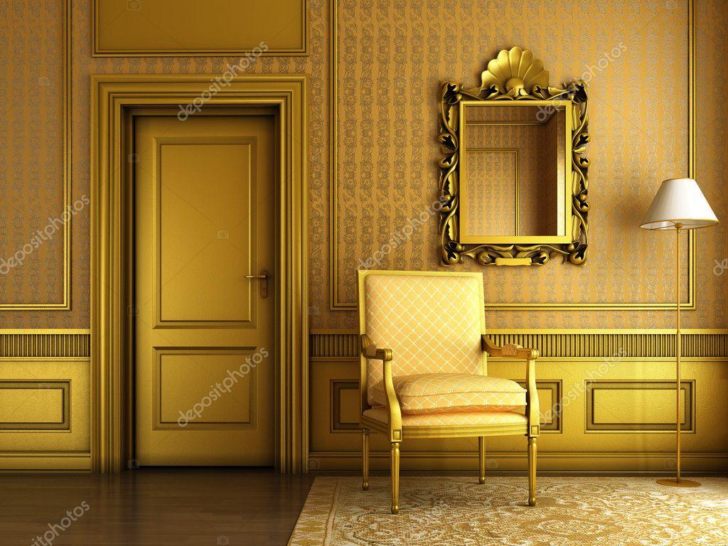 Klassiska palace interiör med fåtölj spegel och gyllene gjutning ...
