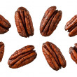 Caramelized Pecans isolated on white — Stock Photo
