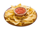 Chips & Dip isolated with a clipping path — Stock Photo