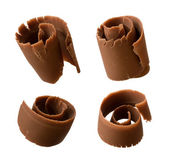 Chocolate Curls isolated on white — Stock Photo