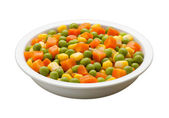 Peas, Carrots, Corn, with clipping path — Stock Photo