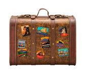 Vieja maleta viaje las etiquetas engomadas aisladas con un trazado de recorte — Foto de Stock