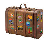 Old Suitcase Travel Stickers isolated with a clipping path — Stock Photo