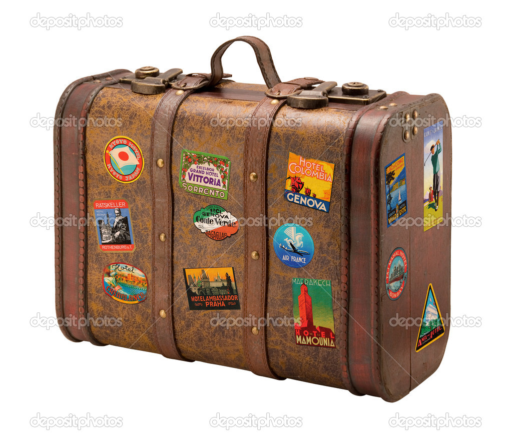 stock photo old suitcase travel stickers isolated