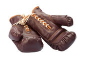 Vintage Boxing Gloves isolated on white — Stock Photo
