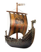 Antique Viking Ship isolated on white — Stock Photo