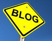 Yellow Blog Road Sign — Stock Photo