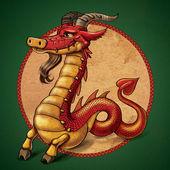 漫画干支赤いドラゴン、アイベックス — ストック写真