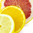 Slice of grapefruit, orange and lemon — 图库照片