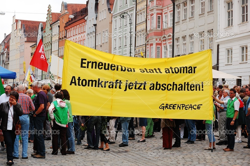 LANDSHUT, GERMANY-JUNE 11:Greenpeace protest  against nuclear power and pro renewable energy on June 11,2011 in Landshut, Germany — Stock Photo #8798896